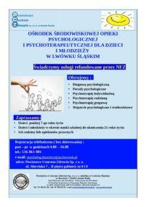 Ośrodek Środowiskowej Opieki Psychologicznej iPsychoterapeutycznej dla Dzieci iMłodzieży